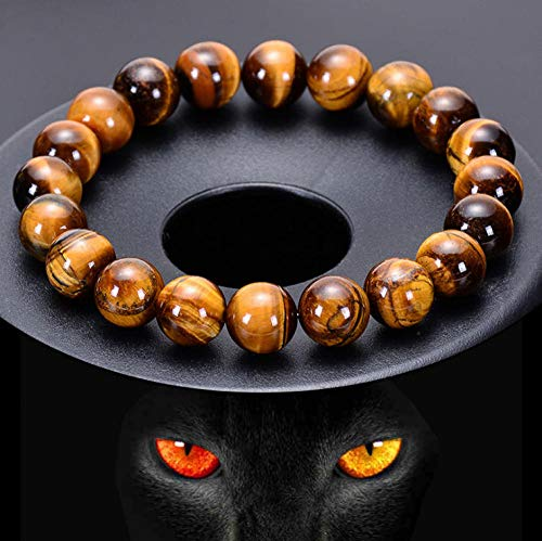 Luckyroom Pulsera Ojo De Tigre Natural, Moda Cura Energía Pulseras Elástica, Pulsera Unisex para Hombres Y Mujeres - Ojo De Tigre Rojo