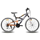 Hiland 26 Inch Mountain Bike MTB Bicycle Full-Suspension 18 Speeds Drivetrain Cycling Urban Commuter City Bicycle Gray