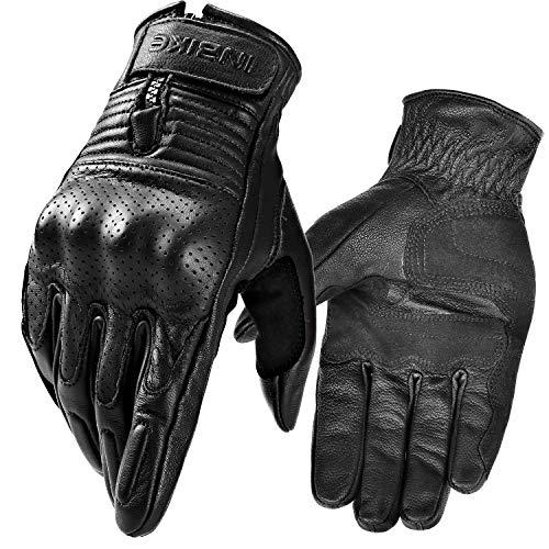 INBIKE Motorrad Handschuhe Herren Damen Sommer Echtes Leder Motorradhandschuhe Atmungsaktiv Und Verschleißfest Mit Harter Schutzhülle Schwarz L