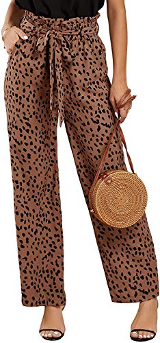 SySea Womens High Waist Leopard Pants Wide Leg Long Belted Palazzo Trousers with Pockets