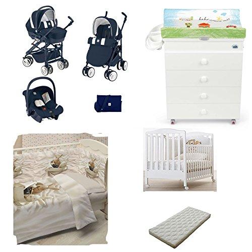 Cam - Poussette Trio Combi Baby + lit bébé Web + table à langer Asia + couette et Tour de lit avec impression photo + matelas 565 BLU