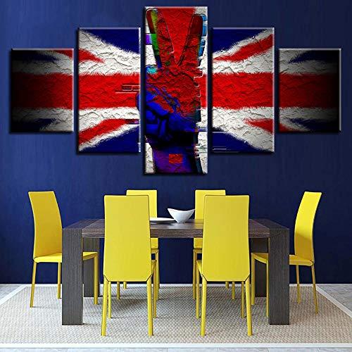 HD-Druck-Leinwand-Malerei 5 Stück britische Flagge & Sieg Scissor Hand Modulare Bilddekoration Wandkunst Wohnzimmer oder Schlafzimmer Vlies-Leinwand-Malerei ohne Rahmen Mu