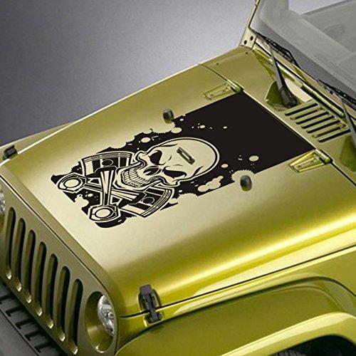 Hood Decal Fits Jeep Wrangler TJ YJ JK - Skull & Pistons Blackout Sticker - Matte Black