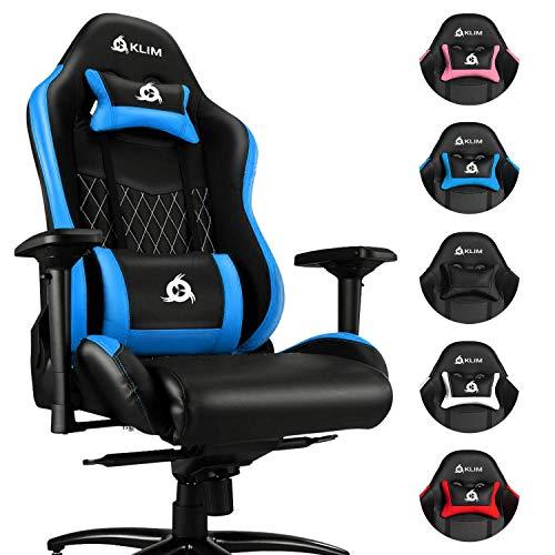 KLIM Esports Gaming Stuhl + Mit Lenden- und Nackenstütze + Verstellbar Gaming Sessel + Ergonomisch PC Stuhl + Kunstleder und Premium-Materialien + Blau Gamer Stuhl 2021 Version Gaming Chair