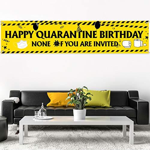 Quarantine Birthday Decorations Supplies Quarantine Birthday Banner Quarantine Birthday Party Backdrop Background for Happy Quarantine Birthday Decoration