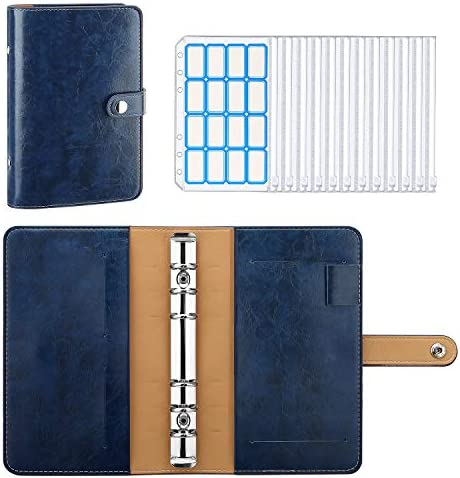 MoKo 6 Ring Binder Notebook A6 PU Leather Loose Leaf Notebook Folder with 12 Pack Clear Plastic product image