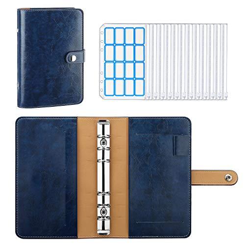 MoKo 6 Löcher Binder Notizbuch, A6 PU Leder Loseblatt Notizbuch Binder Notebook mit 12 Stück Binder Taschen Transparenten Plastik Binderumschlägen Etikettenaufklebern, Vintage Blau