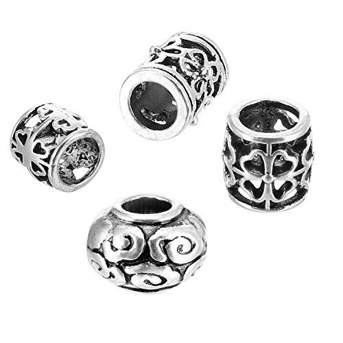 40 Stück Haare Rohr Perlen Dreadlocks Perlen Haarflechten Schmuck Haare Dekoration Zubehör, 4 Stile, Tibetischen Silber