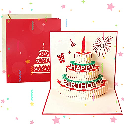 Sunshine smile 3D Geburtstagskarte, Pop Up Geburtstagskarten Grußkarte Geburtstag Karten mit 3 Schichten Kuchen,Gefaltete Happy Birthday Karte,Glückwunschkarte Grußkarten mit Umschlag für Geburtstag