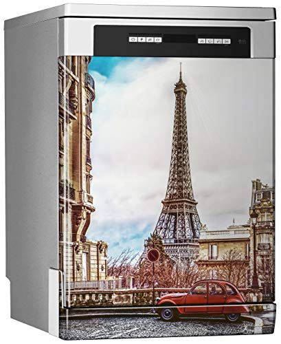 Megadecor decoratief vinyl voor vaatwasser, afmetingen standaard 67 cm x 76 cm, kleine straat van Parijs met blik op de Eiffeltoren op een regenachtige dag bewolkt met een beetje zon