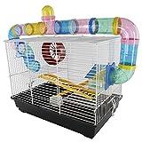 Pawhut Cage pour Hamsters Souris Petits rongeurs 2 étages 2 échelles Tunnels...