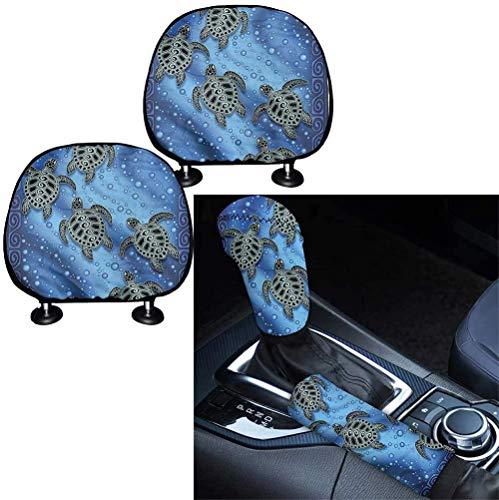 SEANATIVE Universelles Auto-Innenzubehör, 4 Stück, Tribal Meeresschildkröten-Design, universelles Auto-Kopfstützen-Polster mit Schaltknauf und Handbremsbezug.