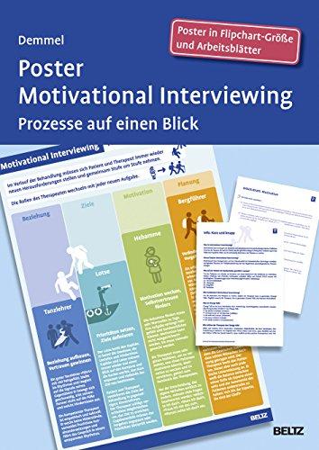 Poster Motivational Interviewing: Prozesse auf einen Blick. Poster in Flipchart-Größe und Arbeitsblätter in der Sammelmappe. Format Poster: 68 x 99 cm