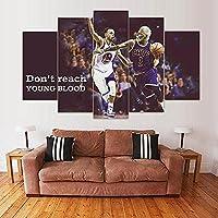 5パネルウォールアート装飾画 モジュラーキャンバス描画バスケットボール選手の写真ポスター絵画壁画-3