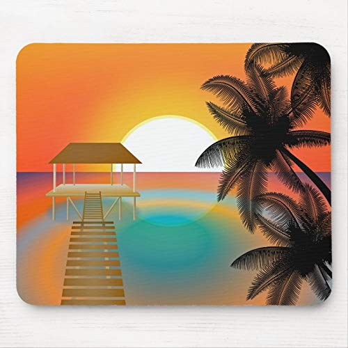 Mouse Pad for Laptop, Palm Tree Ocean Sunset Tropical Zen Drawing Gaming Mouse Pad Non Slip Rubber Bace Waterproof Protector Mousepads Computers Accessories for Pc, Mac, Home, Office 25x30 cm