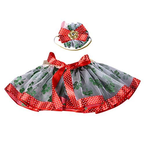 Amosfun Mädchen Tutu Rock Weihnachten Bowknot Stirnband Glitzer Klee Muster Kinder Festival verkleiden Sich Kostüme