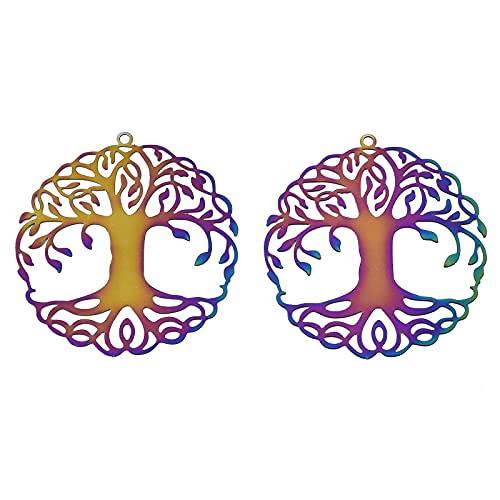 PandaHall 50 colgantes de filigrana de árbol de la vida de acero inoxidable, multicolor, filigrana, dijes de enlace de filigrana hueco, adornos de metal grabados, 43 x 40 x 0,3 mm, para hacer joyas