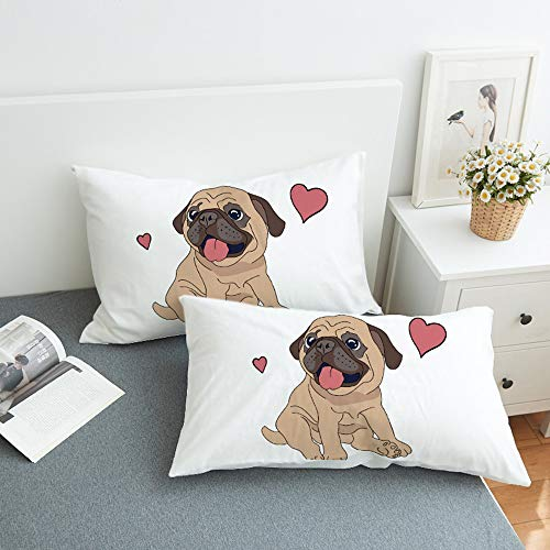 Futtle Cute Bulldog Bed Pillowcases 3D Print Love Hearts Animals Soft Decoration Throw Pillow Covers Set Cushion Cases for Bedroom Couch Car,Set of 2 (Dog, 20''×35'')