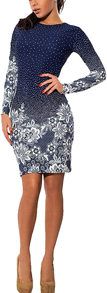 Women Long Sleeve Bodycon Dress Polka Dot Floral Print Round Neck Mini Dress