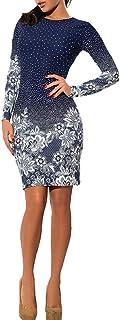 Women's Long Sleeve Bodycon Mini Dress Polka Dot Floral Print Round Neck Slim Fit Pencil Dress