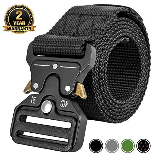 MOZETO Men's Tactical Belt, Military Nylon Web Rigger Cobra Work Carry Tool Belts for Men with Heavy-Duty Quick-Release Buckle