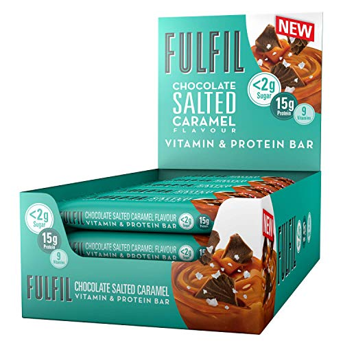 FULFIL Vitamin and Protein Snack-Size Bar (15 x 40g Bars) — Chocolate Salted Caramel Flavour — Low Sugar, 15g High Protein, 9 Vitamins