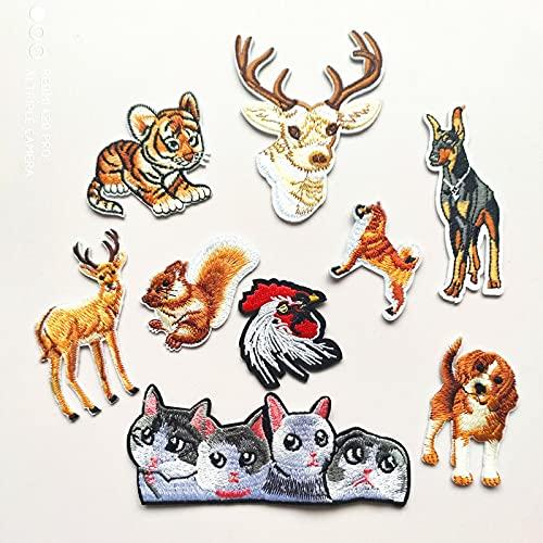 Patch Sticker,Parche termoadhesivo,Aplique de bordado adecuado para sombreros, chaquetas, abrigos, camisetas ardilla tigre de 9 piezas