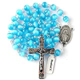 HanlinCC 8mm Light Blue Cat Eyes Beads Rosary Necklace with Miraculous Center Piece and Crucifix with Leather Gift Box