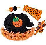 Jimmackey Neonata Pagliaccetto, Infantile Zucca Ricamo Splice Tutu Tutine Body + Fascia Halloween Costume (Verde, 12-24 Mesi)