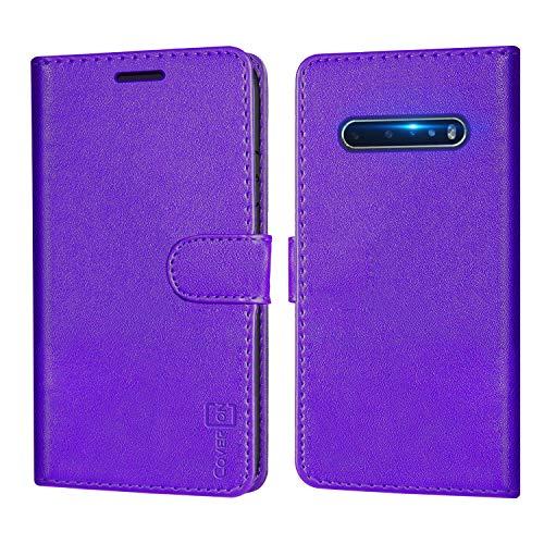 CoverON Schutzhülle für LG V60 THINQ 5G, RFID-blockierender Schutz, Klappetui mit Standfunktion, PU-Leder, violett