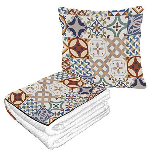 Decke mit Blumen und marokkanischen Fliesen, warme, weiche 2-in-1-Kombination, für Flugzeug, Reisen, Camping, Autoausflüge, Reisekissen und Decke für jede Reise