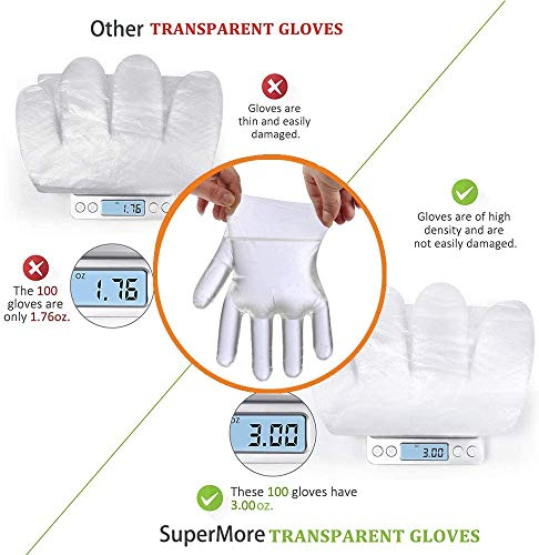 Plastic Gloves Disposable - Clear Disposable Gloves Large or Medium Size, 400PCS Work Gloves for Food Service, Cooking, Cleaning, Hair Coloring, Painting
