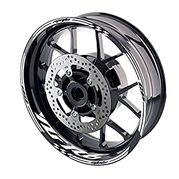 MC MOTOPARTS 17 inch Wheel Rim Stickers Decals Tape Compatible with YZF R6 99-18 09 10 11 12 13 14 15 16 17 18  WHITE
