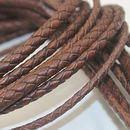 DINGM Cordones de Cuero Genuino Trenzados artesanales Marrones de 1 Metro 3mm 4mm 5mm Hilos Redondos de Cuero de Vaca DIY Pulsera fabricación de Joyas