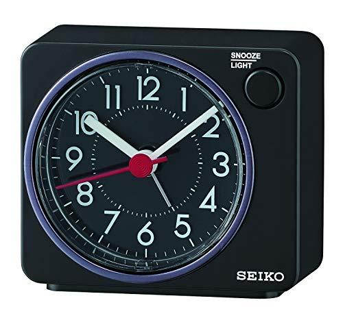 Seiko Clocks Wecker, Kunststoff, schwarz, 6.5 x 7.4 x 3.8
