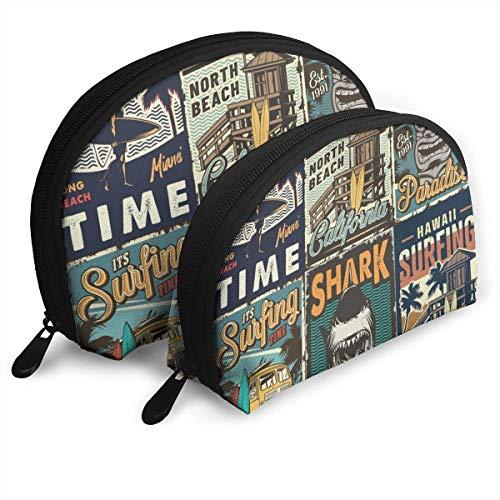 XCNGG Bolsa de almacenamiento de surf colorida vintage 2 piezas Bolsas portátiles de concha Una bolsa de maquillaje cosmética grande y una pequeña