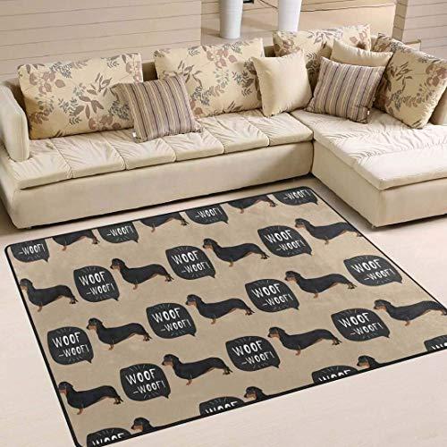 Alfombra de perro salchicha lavable, ideal para regalos de boda, alfombras antideslizantes para dormitorio de niños, sala de juegos, pasillo, alfombra de 182,88 x 122,92 cm