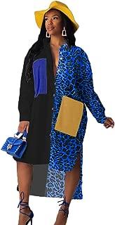 ECHOINE Women's Sexy Button Down T-Shirt Dress Leopard V Neck Loose Blouse Tops Casual Dresses S XXL