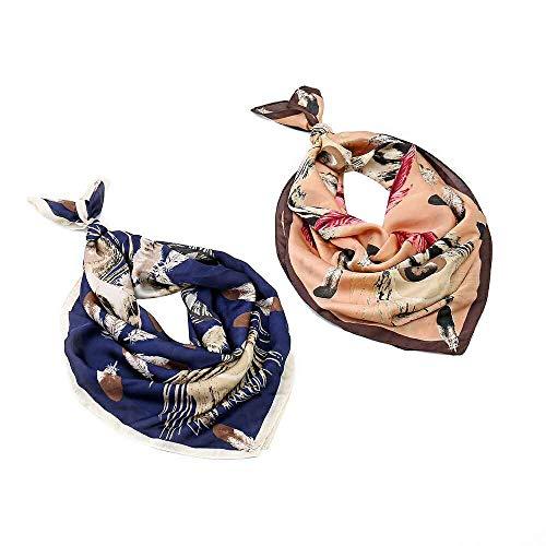 EVQ Haarbandanas für Damen, Seide, quadratisch, Satin, Kopftuch, 69,8 × 69,8 cm - Schwarz - Medium