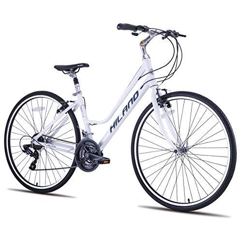 HILAND Urban Commuter Fahrrad für Männer Frauen grau weiß Fahrrad Aluminium 700 * 35C