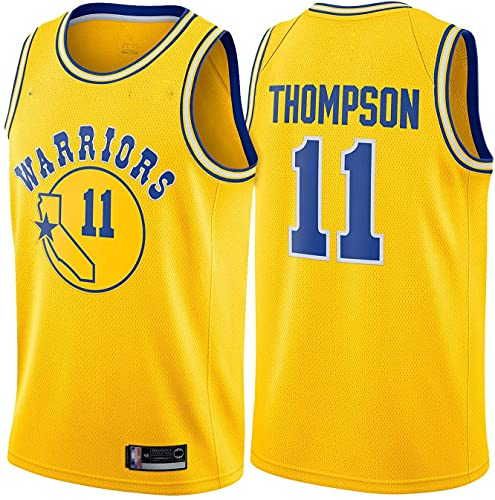 Ropa Jerseys de baloncesto de los hombres, Golden State Warriors # 11 Klay Thompsonn Nba Camisetas sin mangas sin mangas Vestidos transpirables sueltos Uniformes de baloncesto casuales, Amarillo, XL (