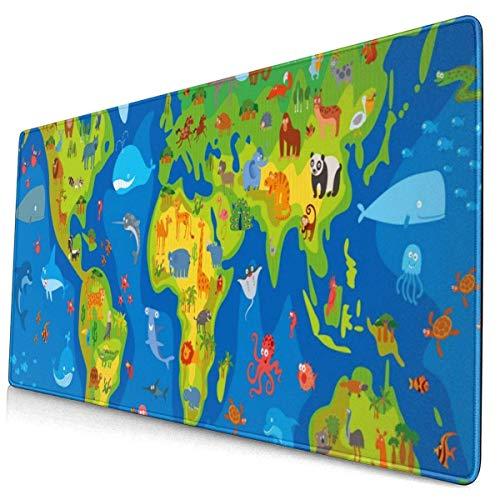 900x400mm Duża Podkładka Pod Mysz,Zabawna Kreskówka Mapa świata Zwierząt Bule,Rozszerzona Podkładka Pod Mysz do Gier XXL,Przenośna Wodoodporna do Biura Myszy,domu,Antypoślizgowa Gumowa Podstawa