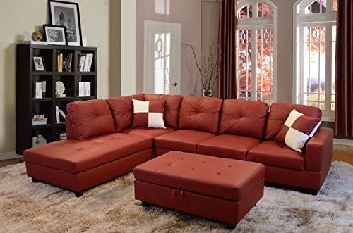 Best Beverly Fine Furniture Left Facing Russes Sectional Sofa Set With Ottoman, RED