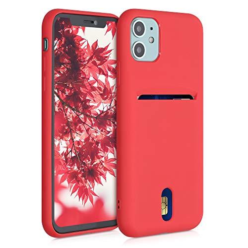kwmobile Funda Compatible con Apple iPhone 11 - Carcasa de Silicona con Tarjetero y Acabado de Goma - Rojo