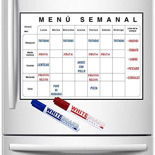 Evisen Planificador Menú Semanal para Nevera Imantado, Organizador de Cocina para Menú, Dietas, Mejorar Alimentación. Incluye Lista de la Compra.