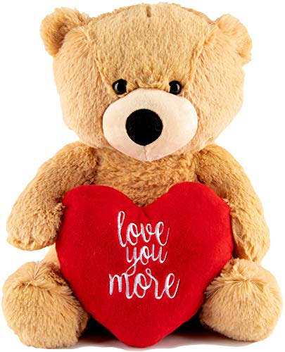 I Love You Teddy Bear – Love You More 12 Inch Plush – Valentines Bear with Heart Stuffed Animal...