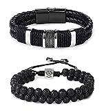 YADOCA 2 Pcs Lava Rock Huile Essentielle Diffuseur Perles Bracelet en Cuir Bracelet...