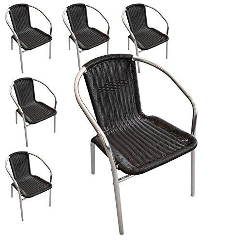 Multistore 2002 Wohaga® 6 Stück Aluminium Stapelstuhl Polyrattan - Bespannung Campingstuhl Gartenstuhl Bistrostuhl Gartenmöbel - Schwarz/Silber