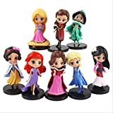 GYINK 8 Unids / Set Blancanieves Princesa Q Aladino Bella Durmiente Cenicienta Blancanieves Sirena S...
