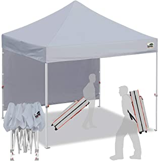 Eurmax Smart 10`x10` Pop up Canopy Tent Sport Event,Outdoor Festival Tailgate Event Vendor Craft Show Canopy Instant Shelter with 1 Removable Sunwall and Backpack Roller Bag
